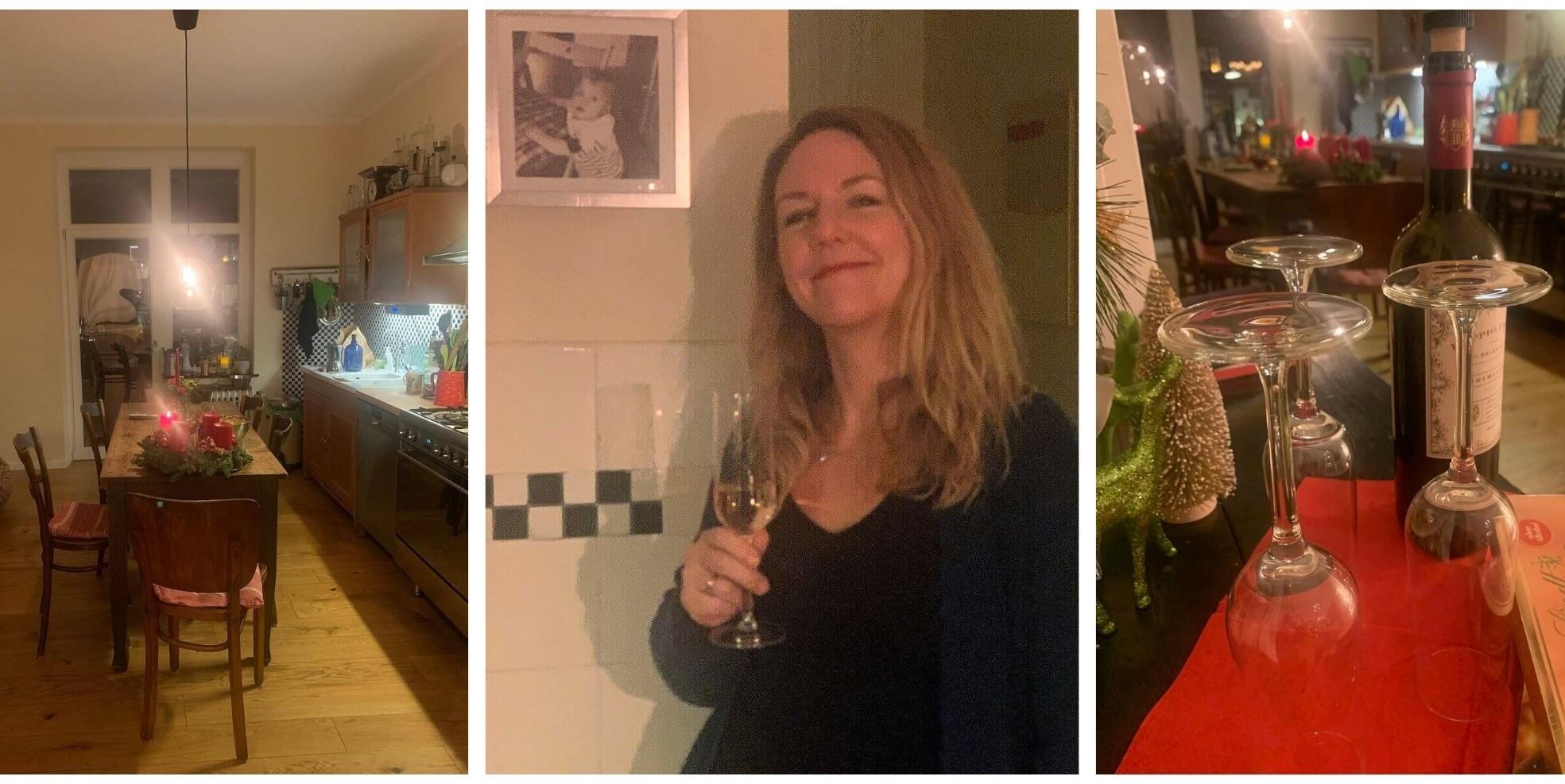 Collage Küche, Portrait Aimée und Gläser